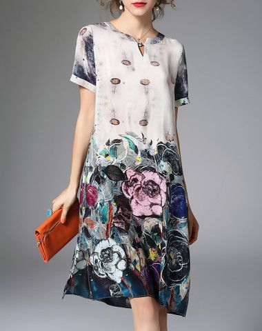 Check the details and price of this Floral Silk Keyhole Neckline Midi Dress (As Shown, ZERACO) and buy it online. VIPme.com offers high-quality Shift Dresses at affordable price.