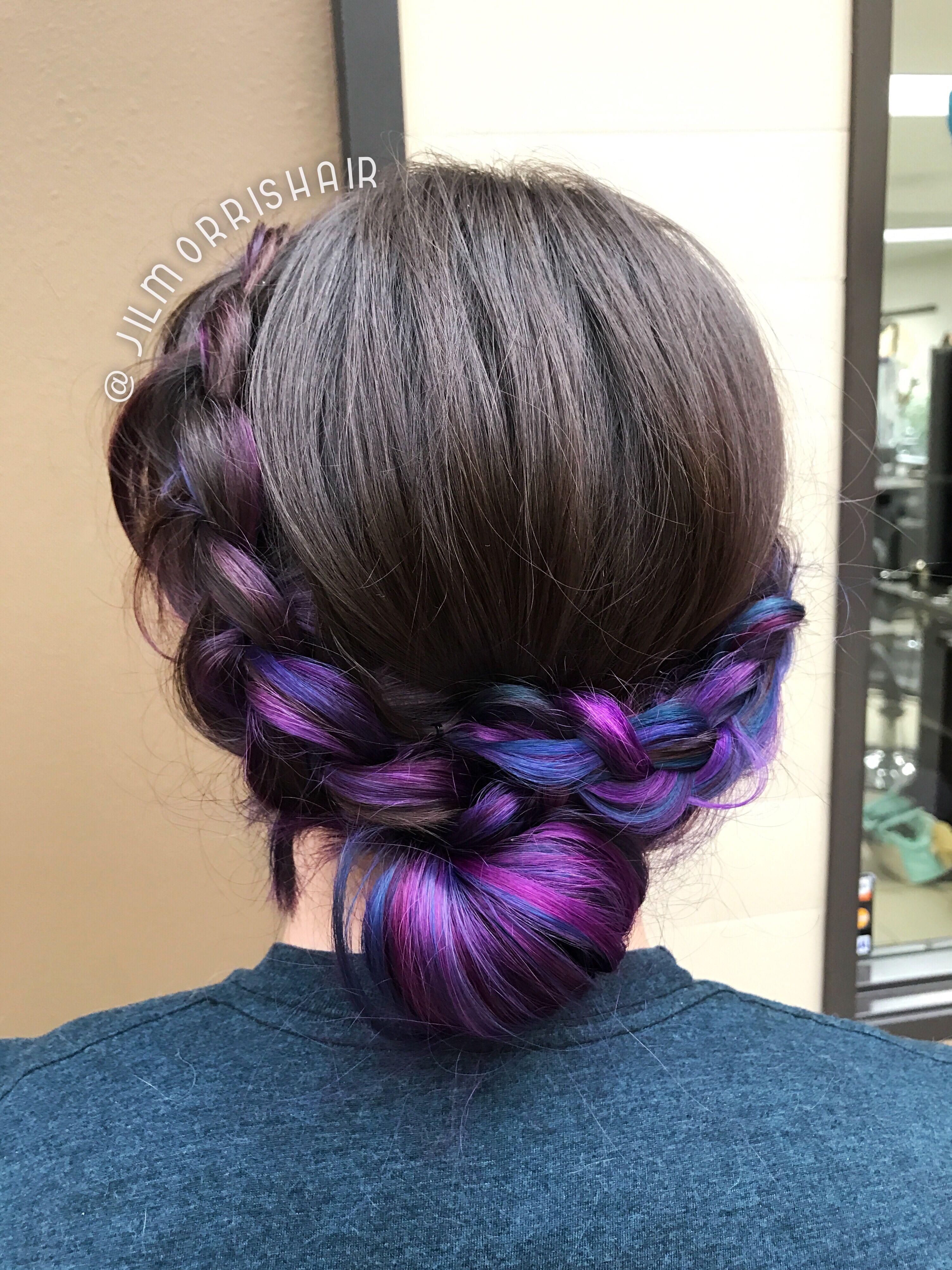 rainbow unicorn hair, galaxy underlights, purple, blue & pink