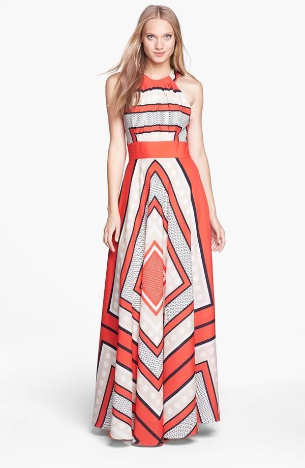 Love this Geo Print Maxi Dress for Spring | Chiffon maxi