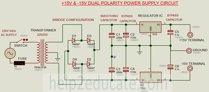 connection diagram for dual polarity power supply circuit | P.A. ...