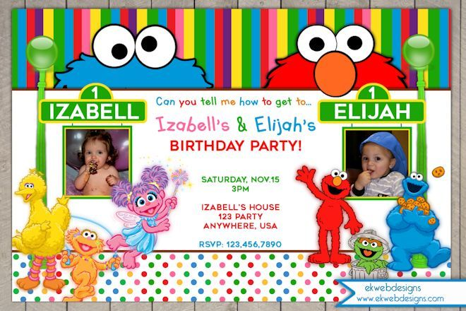 Sesame Street Birthday Invitation Sesame Street Joint or twins