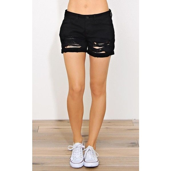 Distressed Denim Rolled Shorts ($20) ❤ liked on Polyvore featuring shorts, black destroyed, ripped jean shorts, ripped denim shorts, denim short shorts, distressed shorts and destroyed shorts