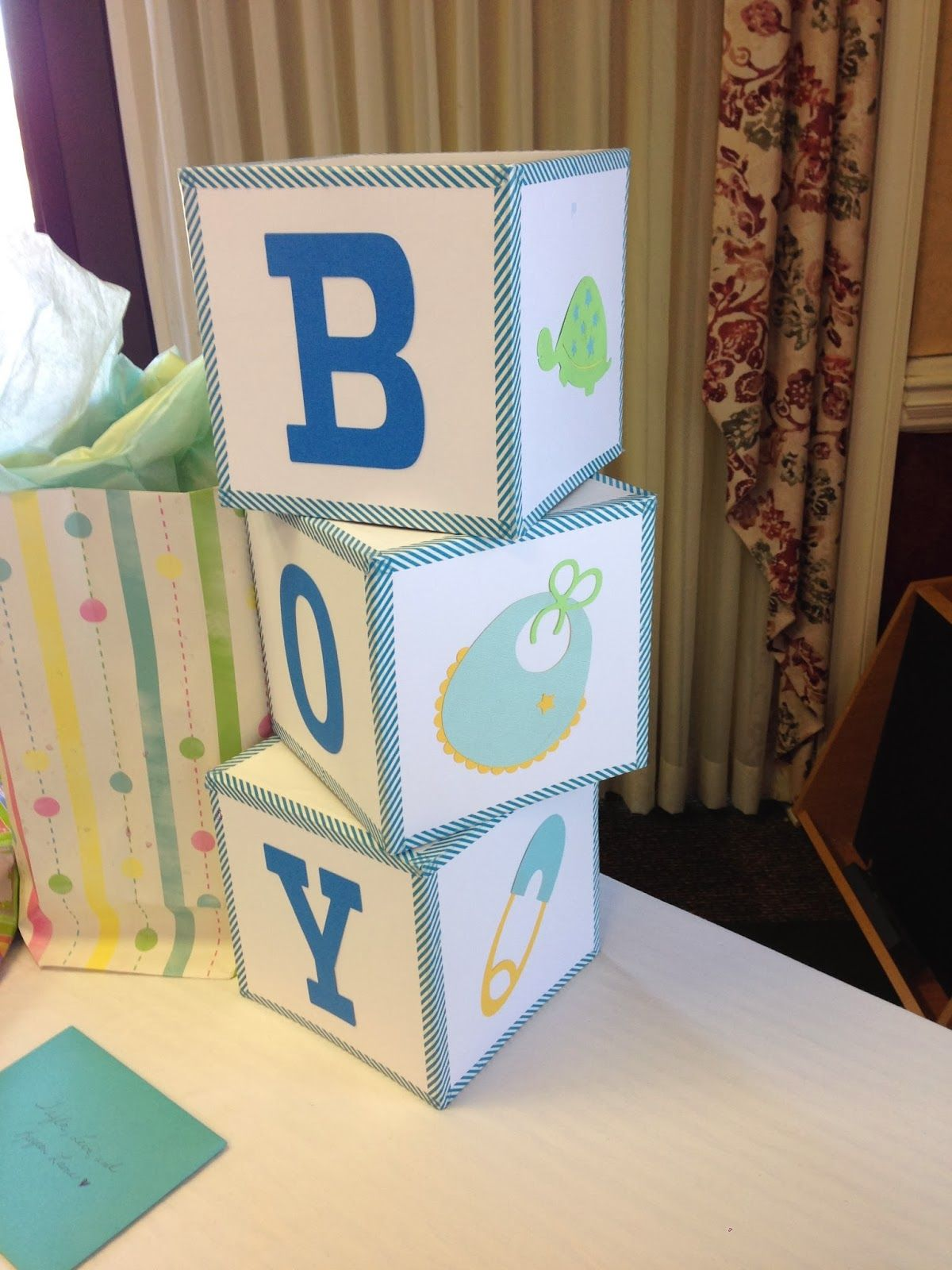 Mrs Crafty Adams | Baby Shower Decorations - baby blocks