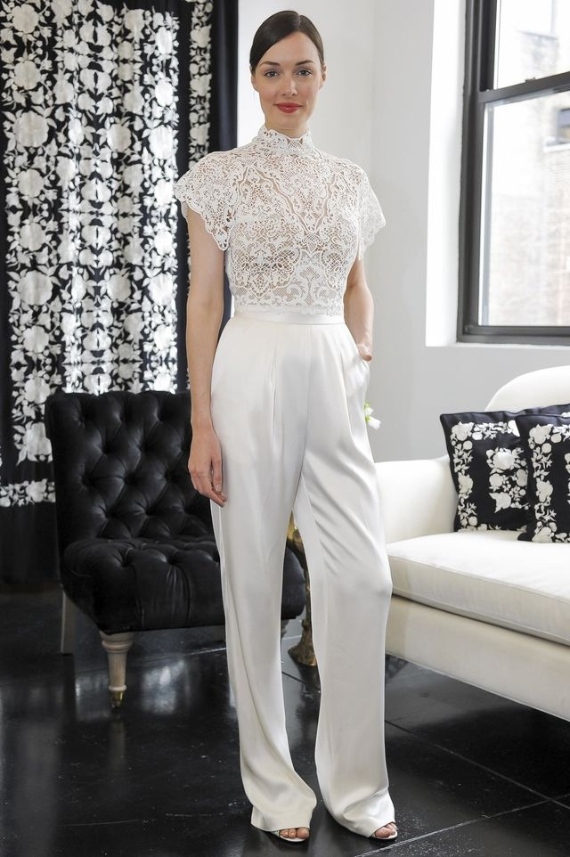 be22fcc9bc ... Bridal Fashion Week channeled Bianca Jagger circa 1970 with white  jumpsuits making their big comeback. Less conventional than the classic wedding  dress