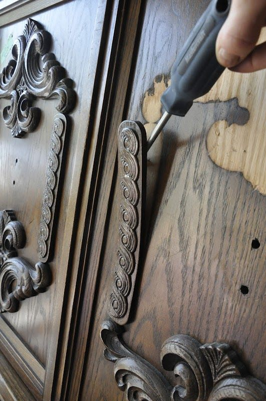 Wow! I had never thought of prying off all the crazy wood accents on old furniture. #furnitureredos
