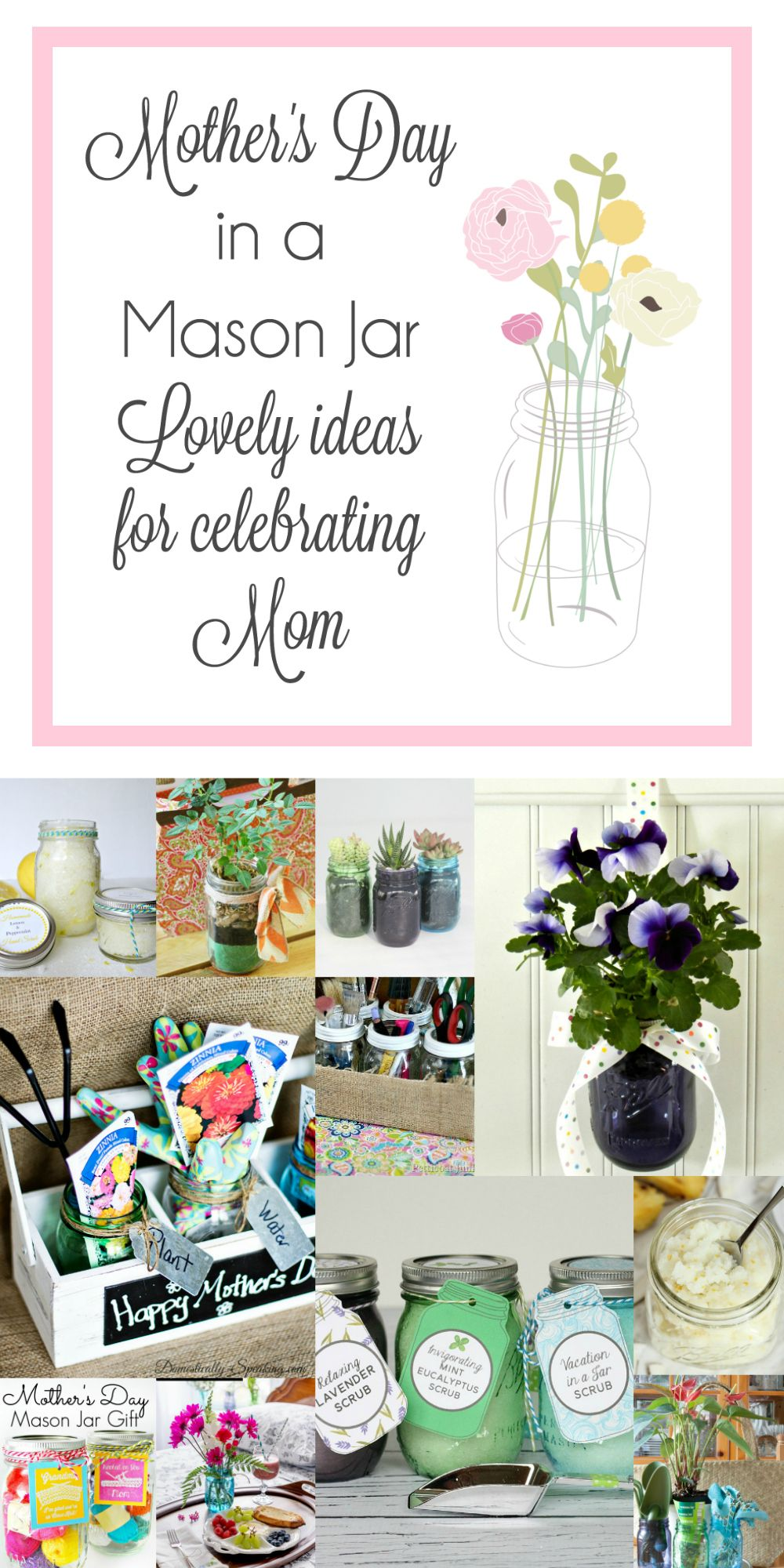 Mother's Day Gardening Gift with Mason Jars and a Giveaway