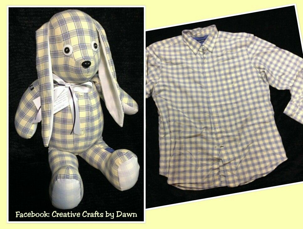 Memory Bunny or Bears made from loved ones clothing. Find me on facebook: Creative Crafts by Dawn or check out my website creativecraftsbydawn.webs.com