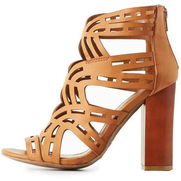 Bamboo Laser Cut Chunky Heel Sandals ($19) ❤ liked on Polyvore featuring  shoes,