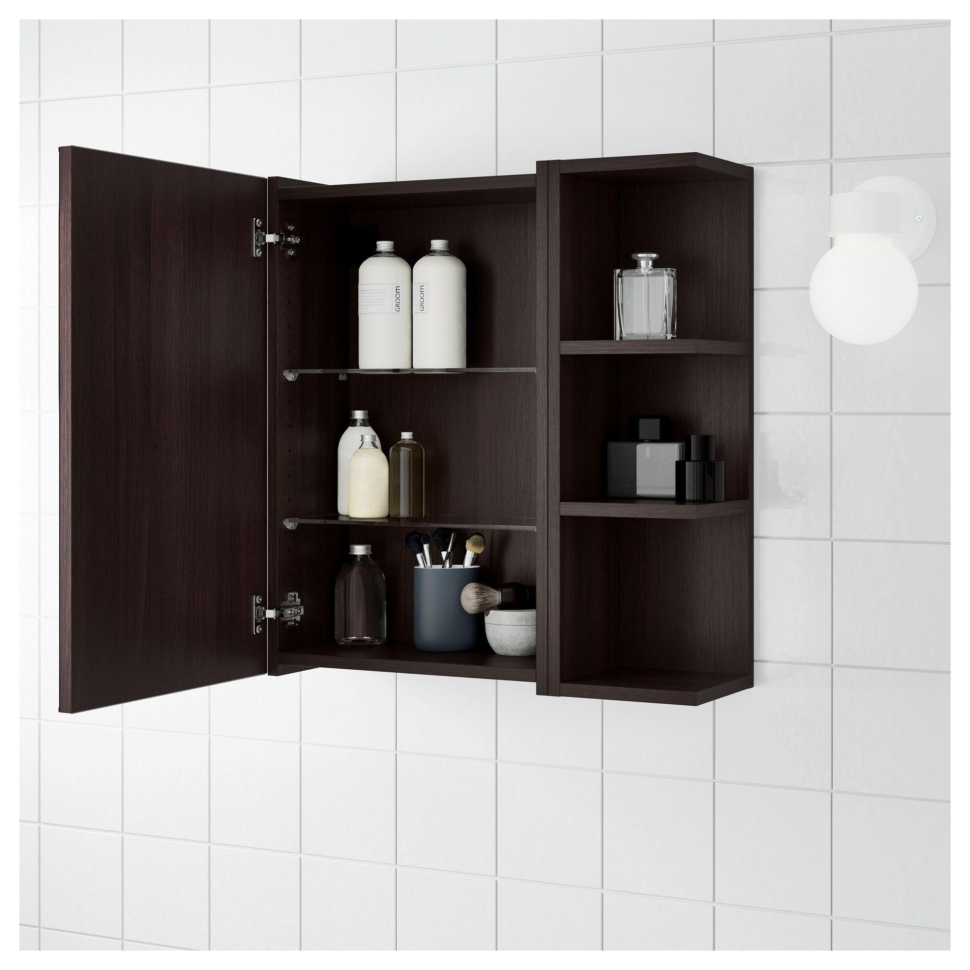 brown bathroom shelving ideas | IKEA - LILLÅNGEN Mirror cabinet 1 door/1 end unit black ...