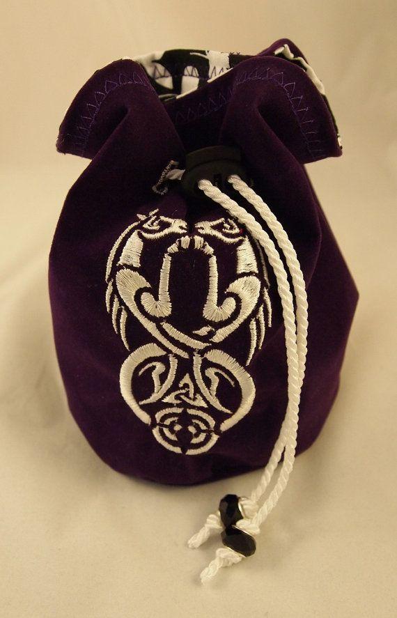 Purple Velvet Dice Bag with Celtic Seahorses on Etsy, $20.00