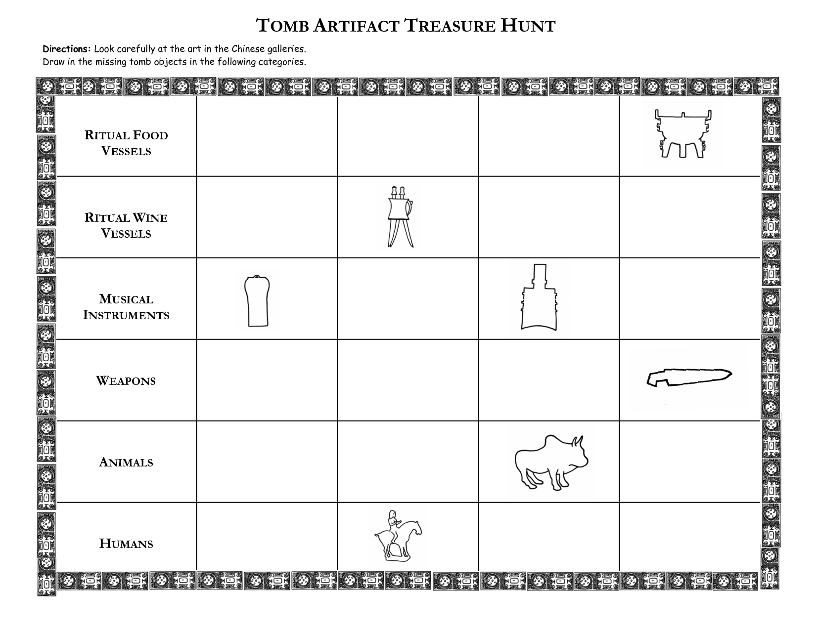 worksheet Ancient China Worksheets ancient china worksheets tomb artifact treasure hunt directions look