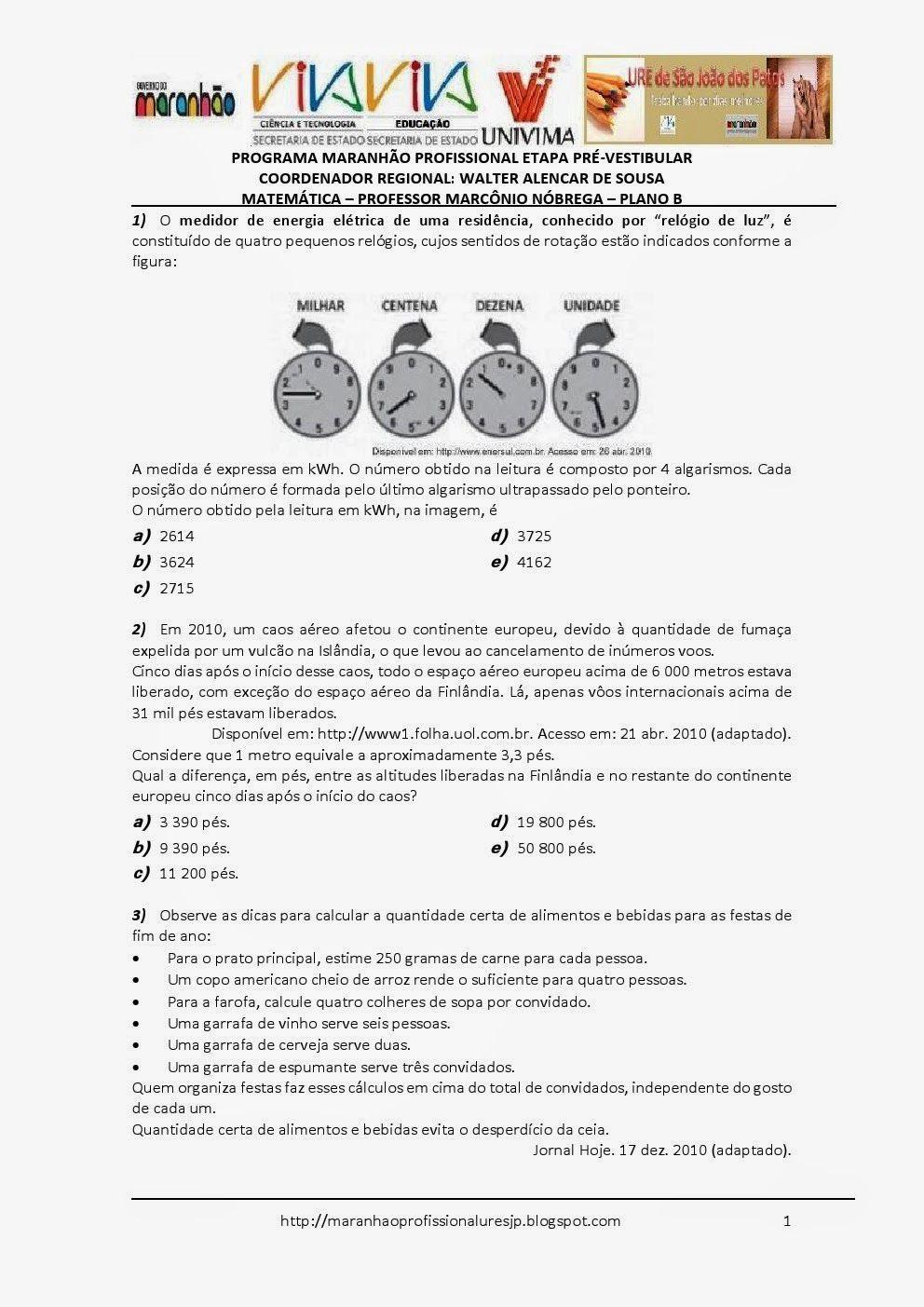 Programa Maranhão Profissional 2014: ETAPA PRÉ-VESTIBULAR - PLANO B - MATEMÁTICA