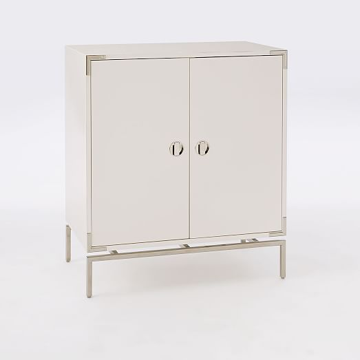 Malone Campaign Bar Cabinet, White Lacquer/ Polished Nickel