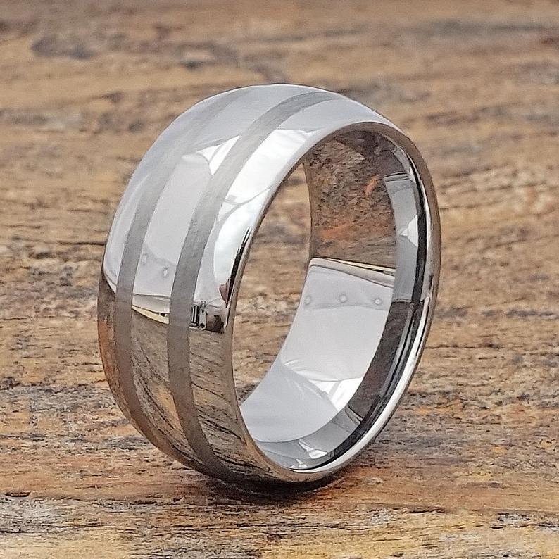 Wide Engraved Ring Mens Tungsten Ring Mens Dome 10mm Band Etsy Tungsten Mens Rings Rings For Men Engraved Rings