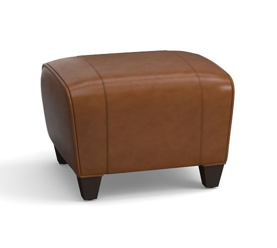 Manhattan Leather Ottoman With Images Leather Ottoman