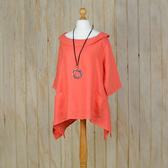 9ae0787117f Lagenlook Plus Size 16 18 20 22 24 26 28 Ladies Italian 100% Quality Linen Top  Tunic CORAL T44