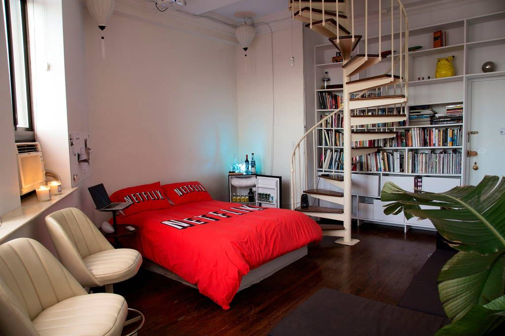 Apartment in New York, United States. The Netflix & Chill Airbnb Room is a project presented by ART404 + Tom Galle. With this project we bring the famous 'Netflix & Chill meme' to life and offer it as an IRL experience that people can rent for a night. (@artnotfound & @tomgalle)  The ...