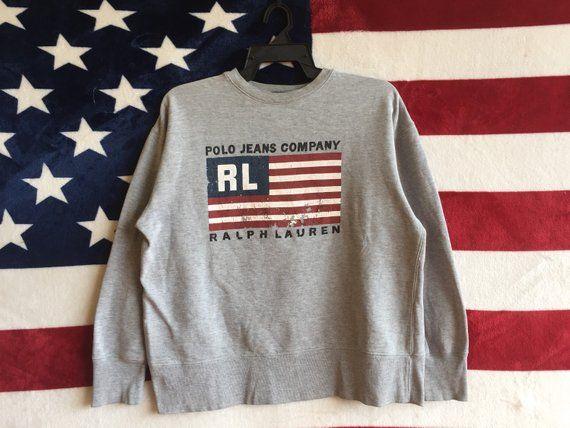 4b469887a Vintage 90s Polo Jeans Company Ralph Lauren Sweatshirt Usa Flag Polo Ralph  Lauren Sweater Grey Colou