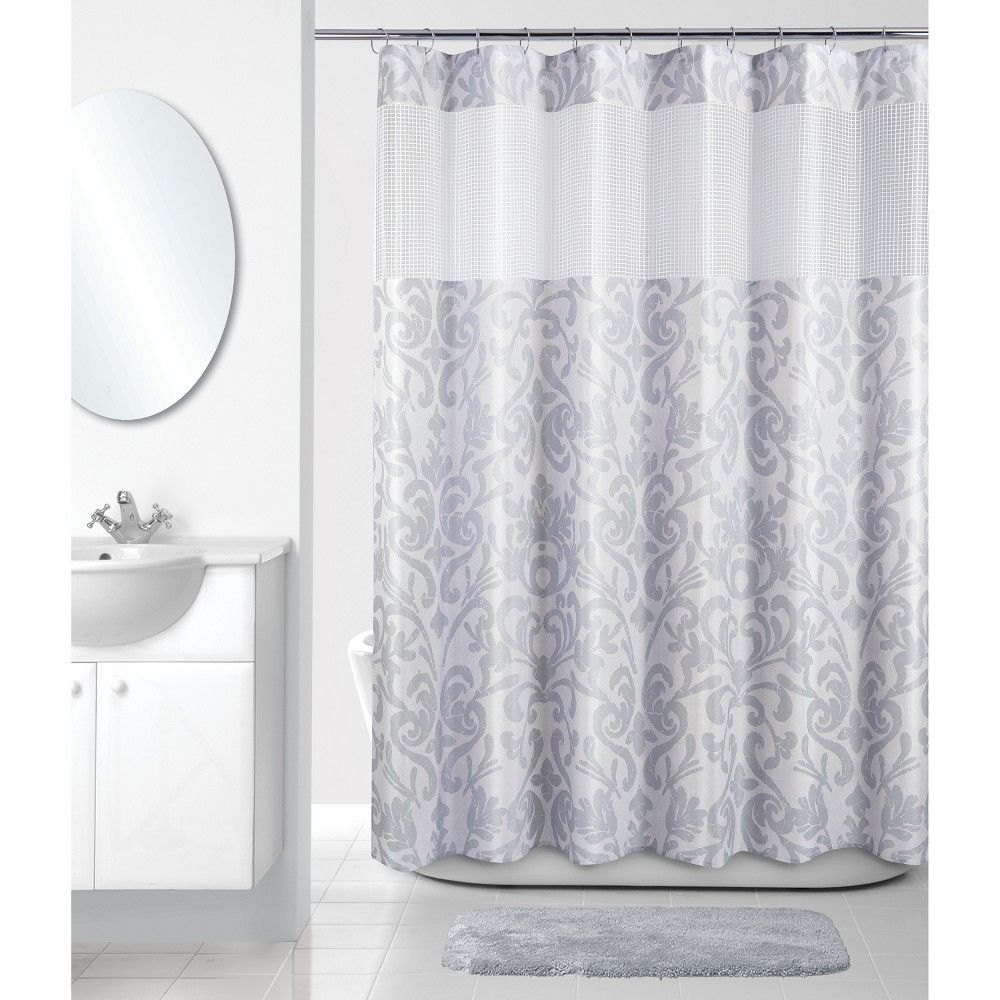 Damask Retreat Shower Curtain Gray White Allure Home Creation