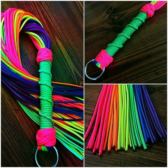 Dayglo Pink And Bright Rainbow Vegan Paracord Flogger Paracord Flogger Pink