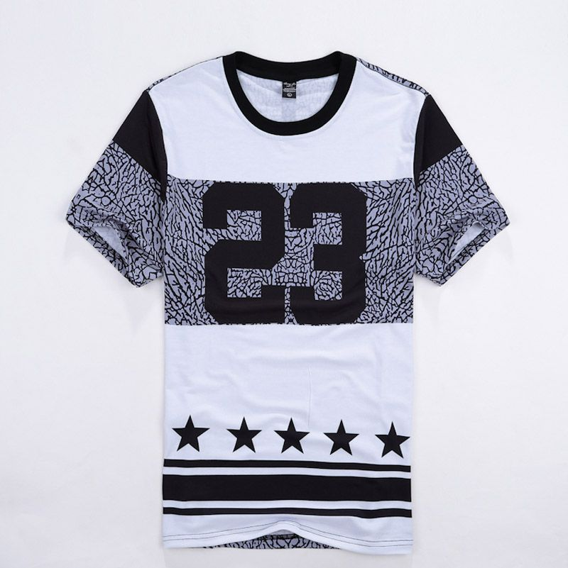 Men Hip Hop Street wear t shirt Number 23 Printed Men Casual Fashion Tshirts  Crewneck Short