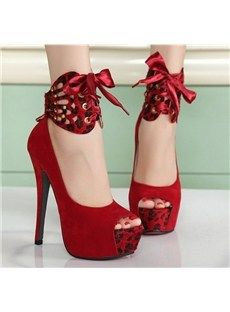 Gorgeou Rose Suede Peep Toe Ankle Strap High Heel Shoes | Red ...