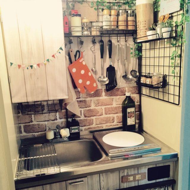 Tropico さんの キッチン ダイソー ナチュラル 100均 Diy 一人暮らし カフェ風 セリア フェイクグリーン 壁紙 賃貸 ミニキッチン 男前 のお部屋写真 インテリア 収納 キッチン 収納 一人暮らし ミニキッチン