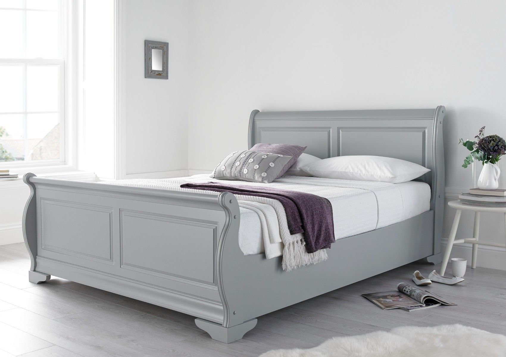 Louie Wooden Sleigh Bed Grey Grey Bed Frame Wooden Sleigh Bed