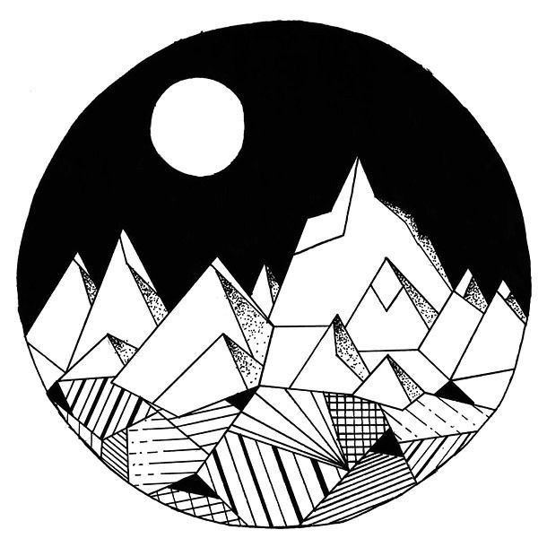 geomertic mountains in circle tattoo design crafts