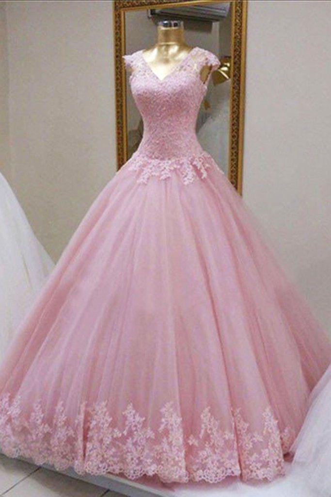 b50ba74721 Pink organza lace applique long dress, princess ball gown dresses in ...