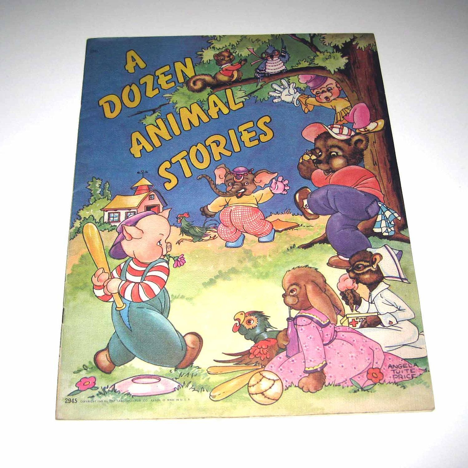"""""""A Dozen Animal Stories"""" 1940s book by Saalfield. Illustrated by Angela Tuit Price. Via Etsy."""