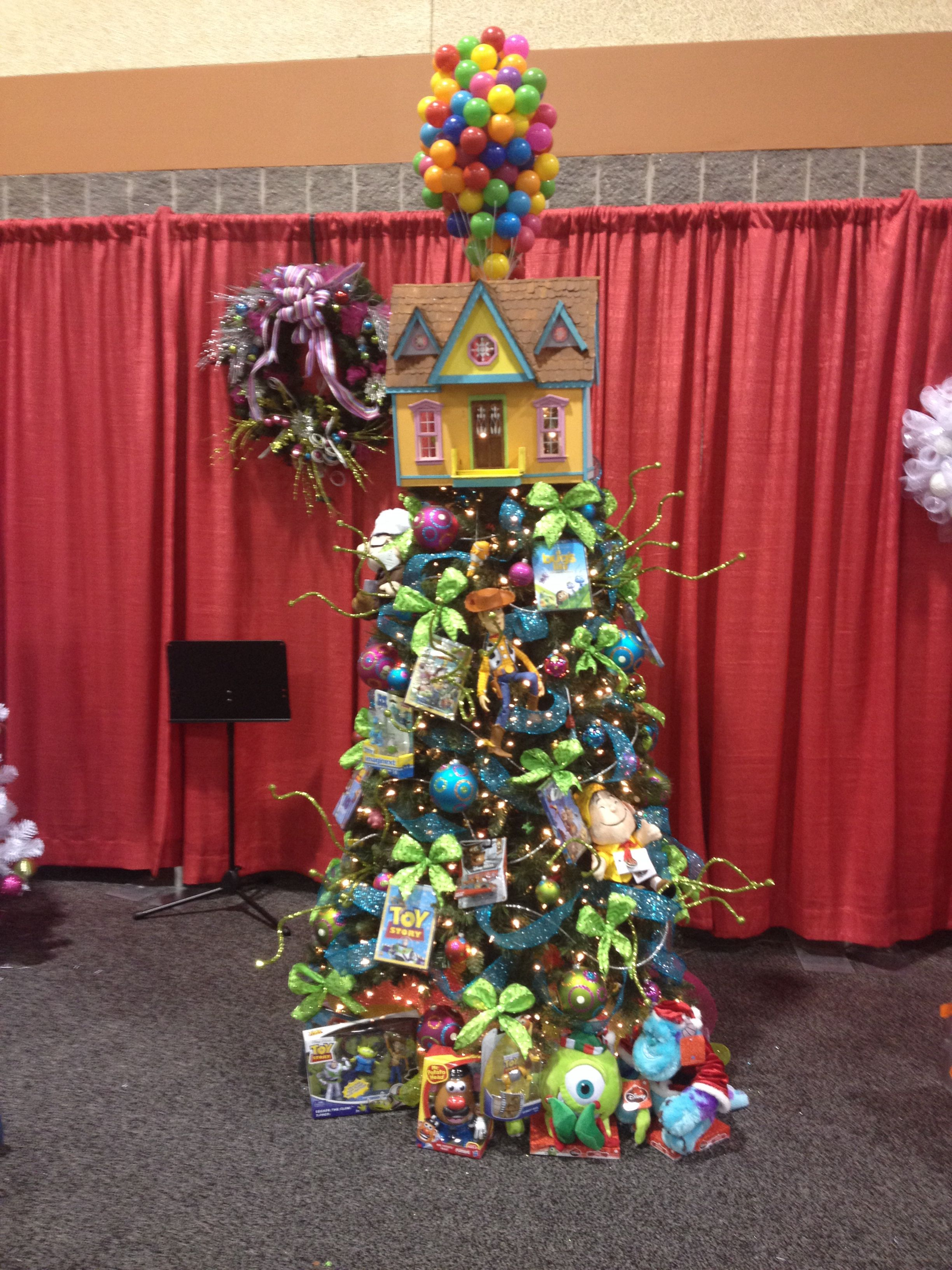 disney pixar themed christmas tree up balloon house tree topper