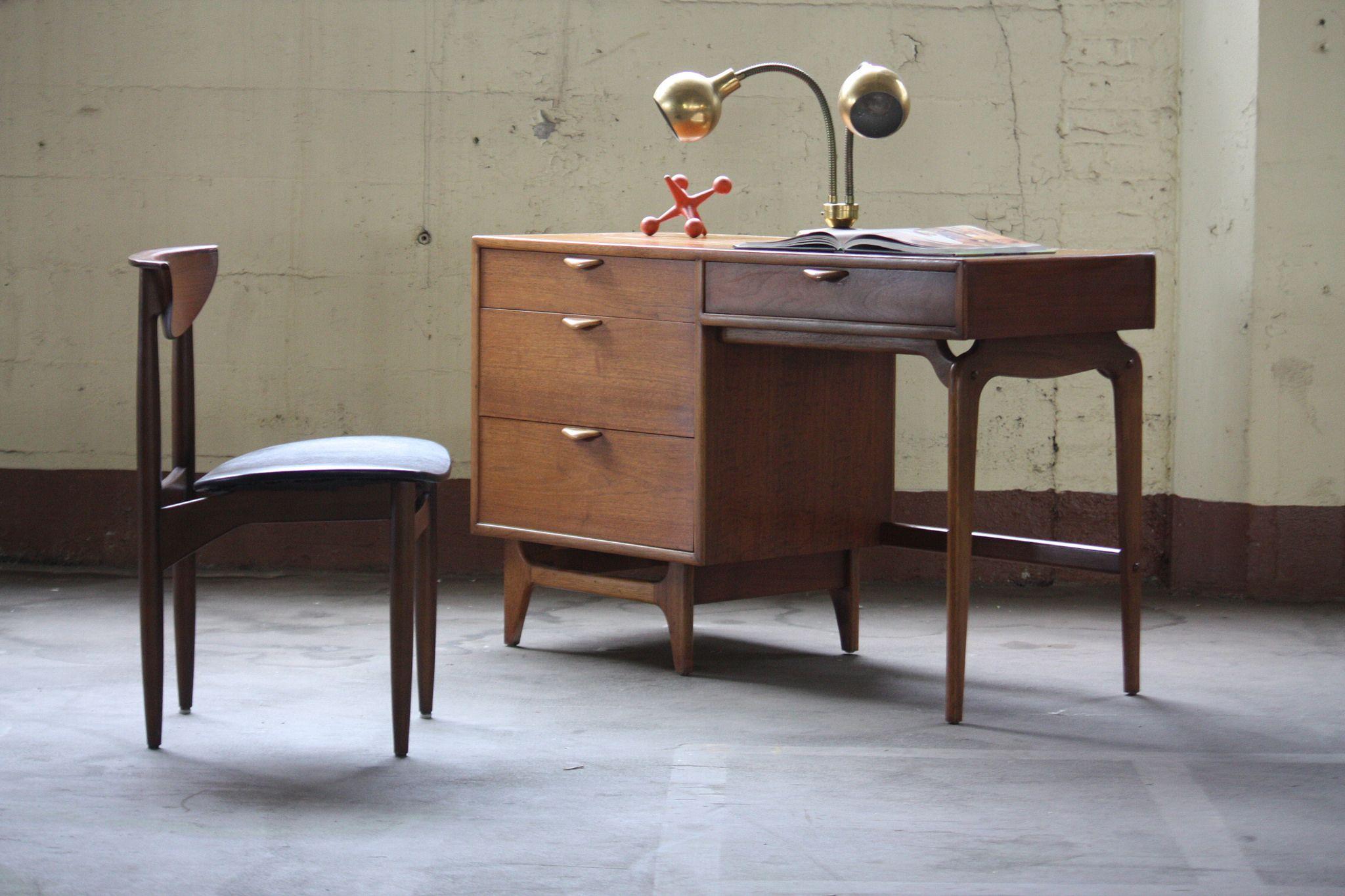 Remarkable Midcentury Modern Lane Perception Walnut Desk U S A