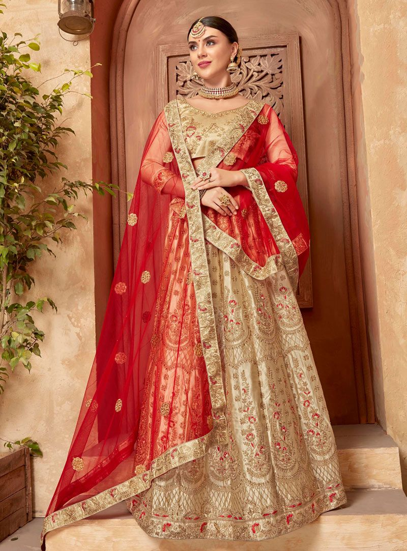 5f8844902f Buy Beige Satin A Line Lehenga Choli 149402 online at best price from vast  collection of Lehenga Choli and Chaniya Choli at Indianclothstore.com.