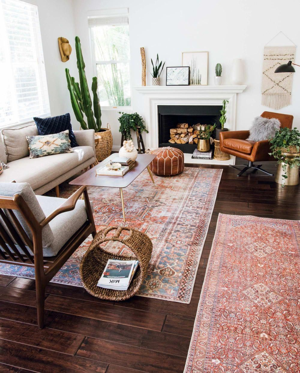 Layered And Cozy Eclectic Living Space Boho Vintage And Mid Century Modern Accents Livingroom Midce Eclectic Living Room Home Decor Inspiration Home Decor #vintage #eclectic #living #room
