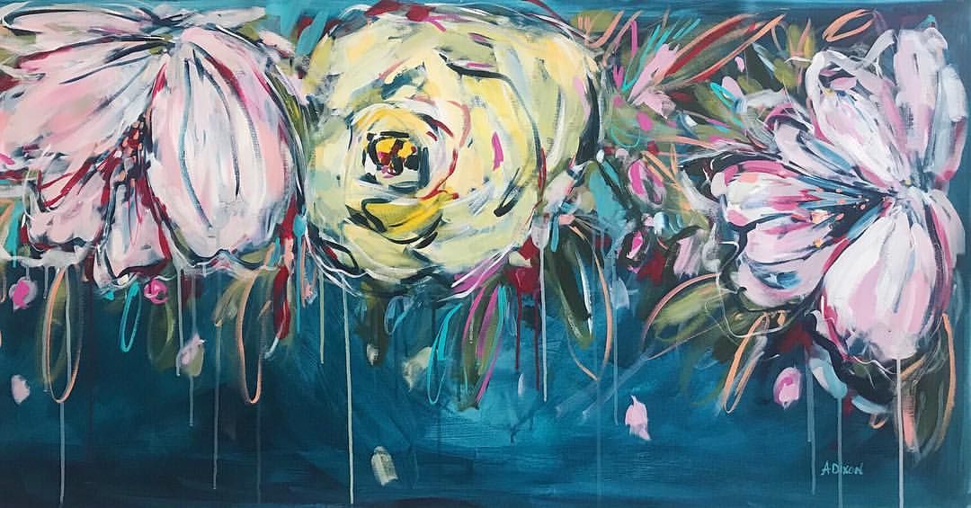 This is my second large (30x55) floral painting that I