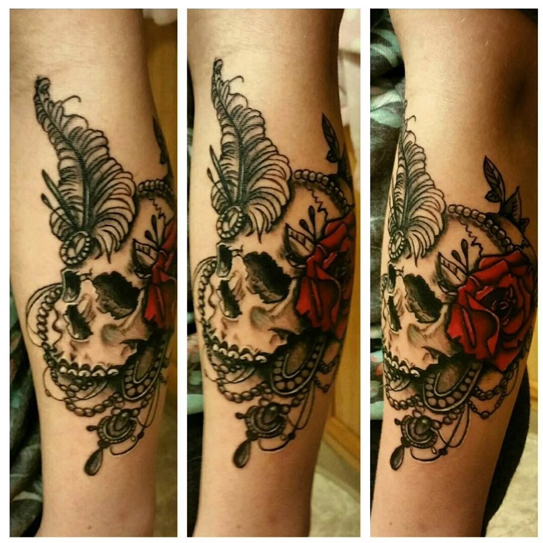 Pretty black and gray feminine, skull, sugar skull, tattoo