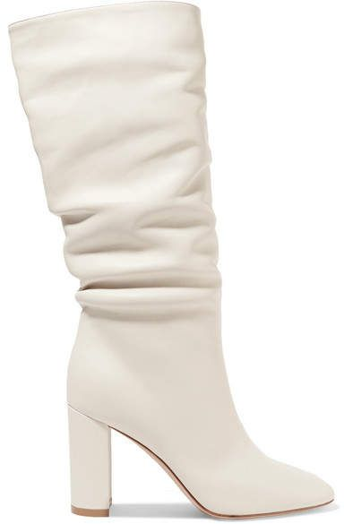 Gianvito Rossi - Laura 85 Leather Knee Boots - White  6a454017377
