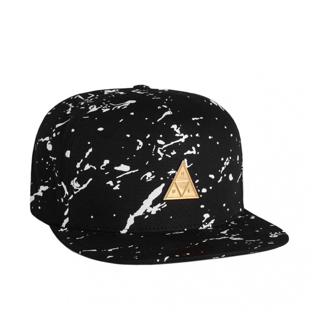 5b871df083b HUF Splatter Metal Triangle Snapback (Black) Five Panel Hat