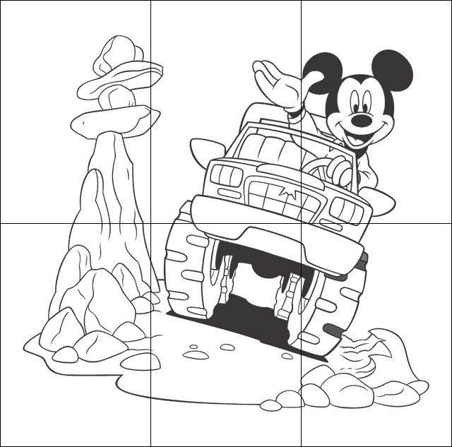 Puzzle infantil para imprimir colorear y recortar de Mickey Mouse