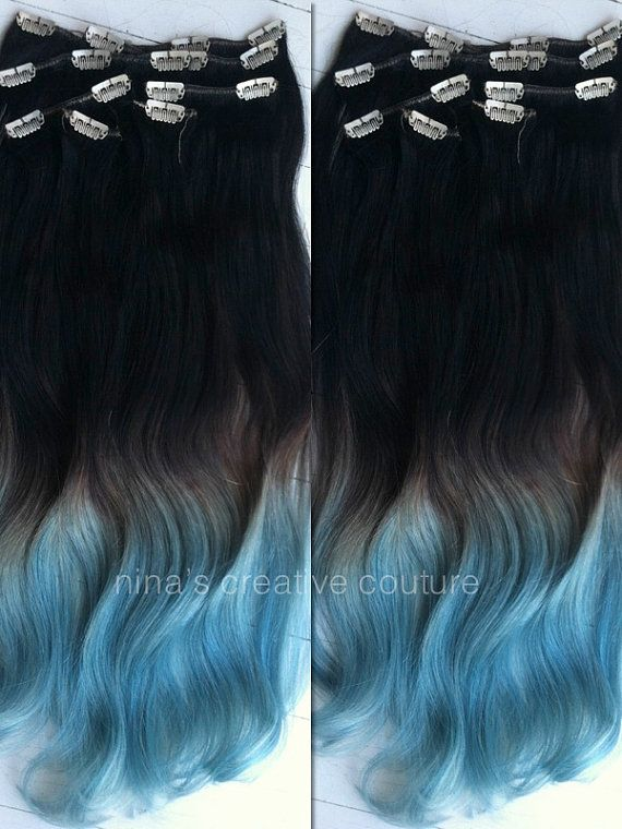 Blue Ombre Hair Extensions Blue Dip Dye By Ninascreativecouture