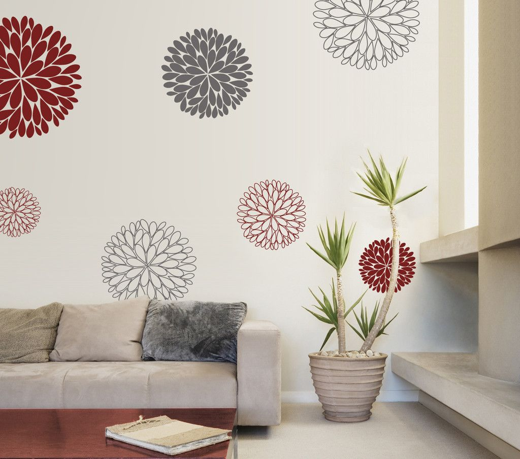 6 Abstract Flowers Vinyl Wall Sticker by Vinylimpression on Etsy