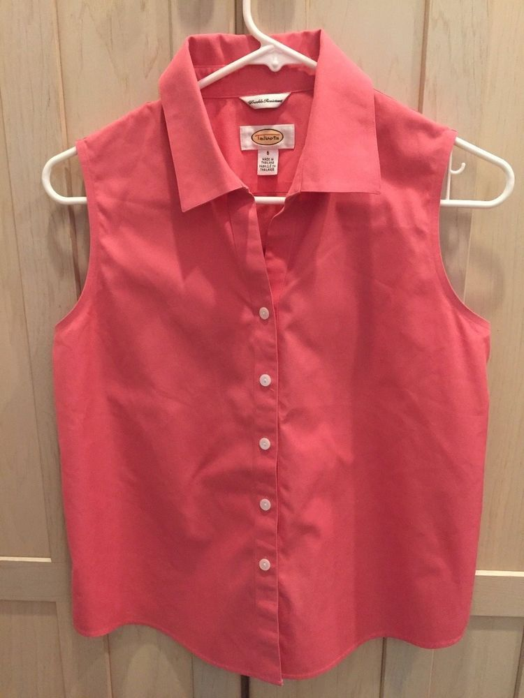b7ed923e47b0 TALBOTS SLEEVELESS COLLARED TOP SIZE 6 PINK WRINKLE RESISTANT  fashion   clothing  shoes  accessories  womensclothing  tops (ebay link)