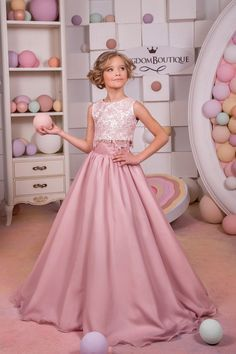 59105ee10c2 Blush Pink Lace Satin Flower Girl Dress - Wedding Party Holiday ...