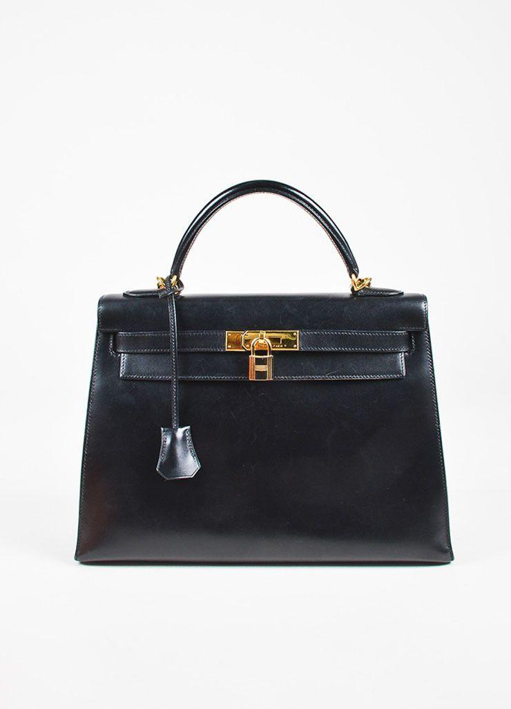 Hermes Black Box Calf Leather Gold Tone
