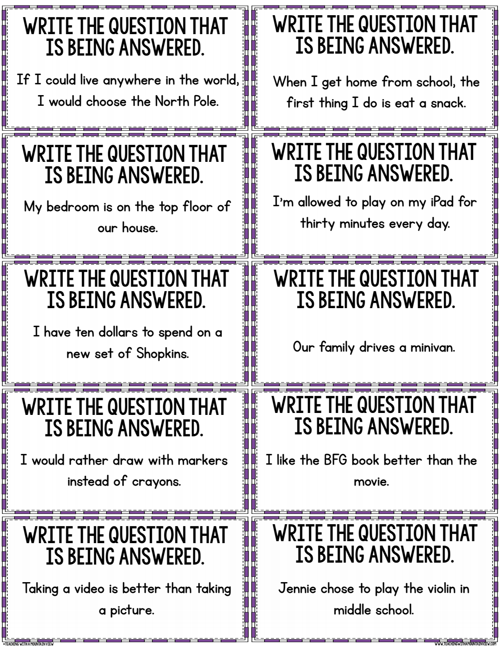 Restating The Question Activity