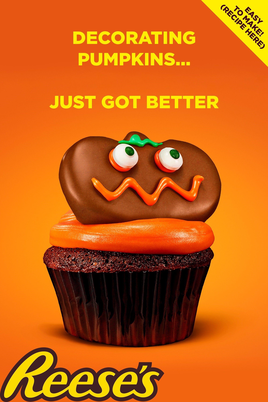 Easy REESE'S Pumpkin Cupcakes