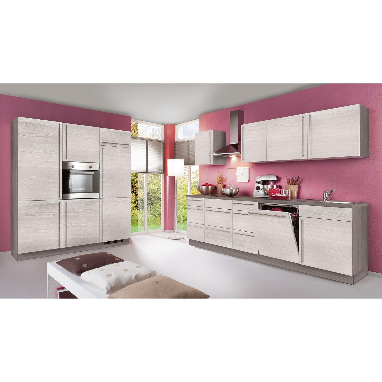 Küchenblock PLAN Eiche weißEiche grau links mit E