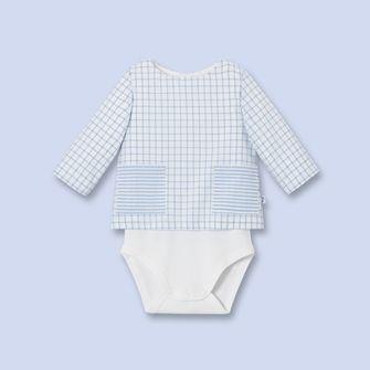 Check print blouse bodysuit WHITE/BLUE Boy - Baby Clothes - Jacadi Paris