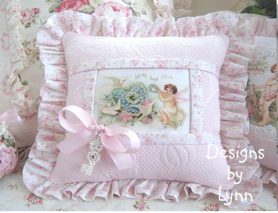 pink cupid doves vintage style romantic ruffled sachet pillow pink metelasse designs by lynn. Black Bedroom Furniture Sets. Home Design Ideas